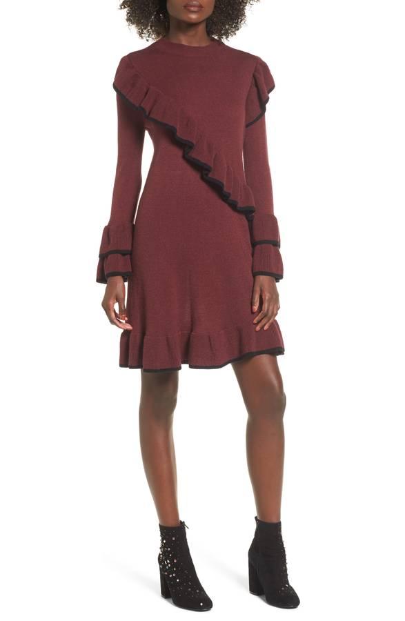 ruffled sweater dress