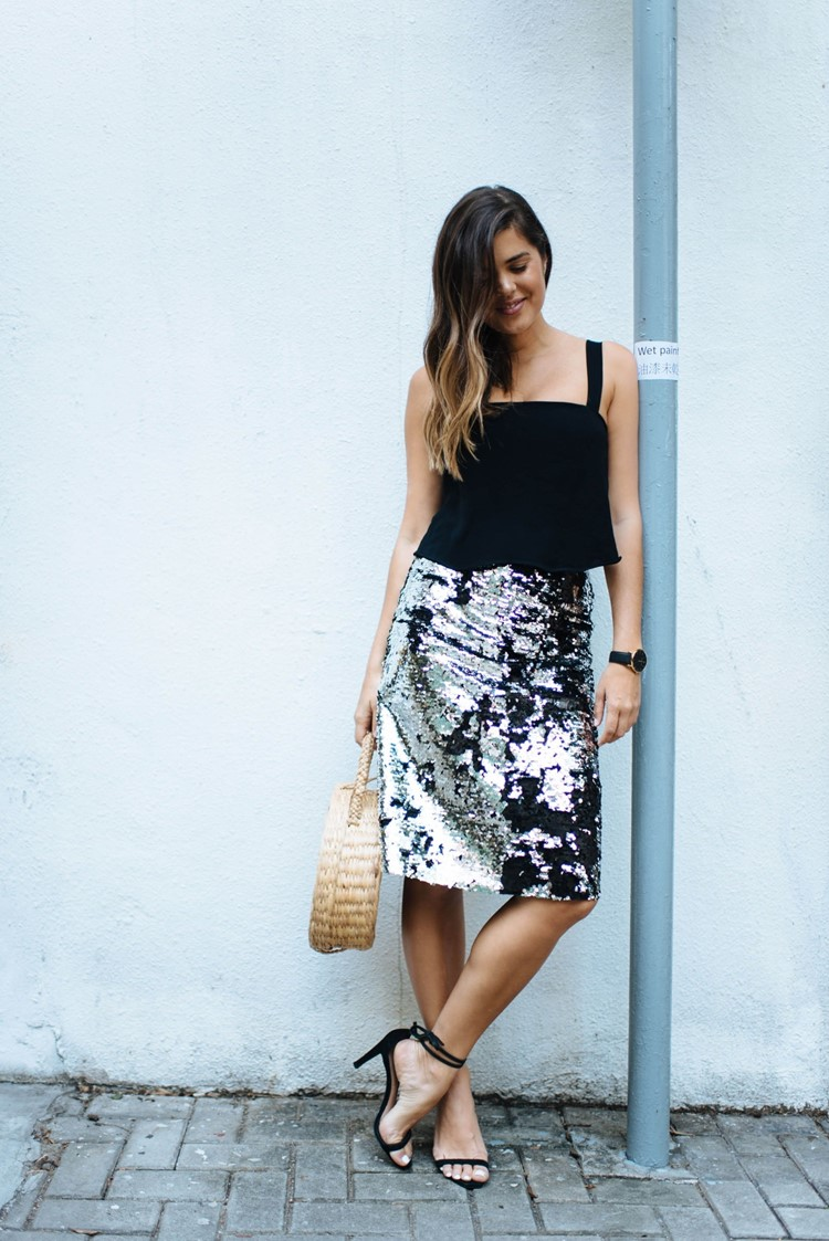 DIY Sequin Pencil Skirt