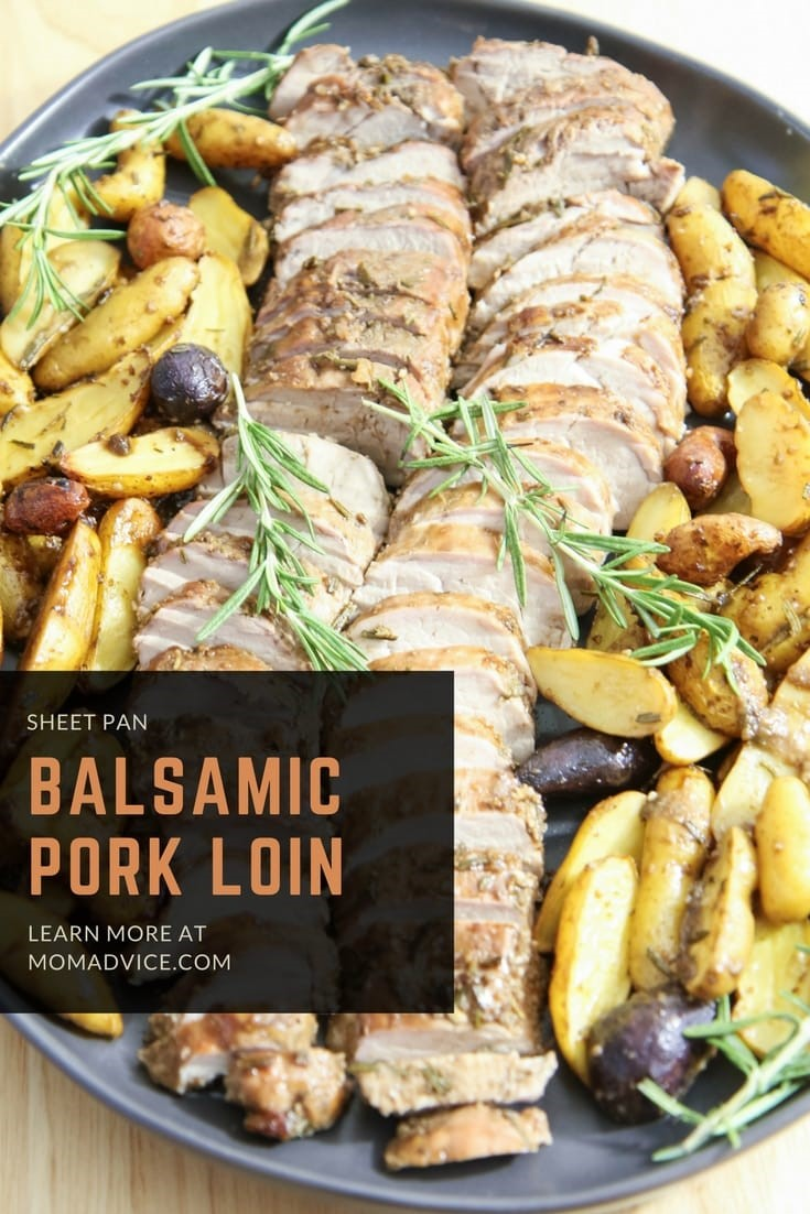 Balsamic Pork Loin Sheet Pan Meal from MomAdvice.com