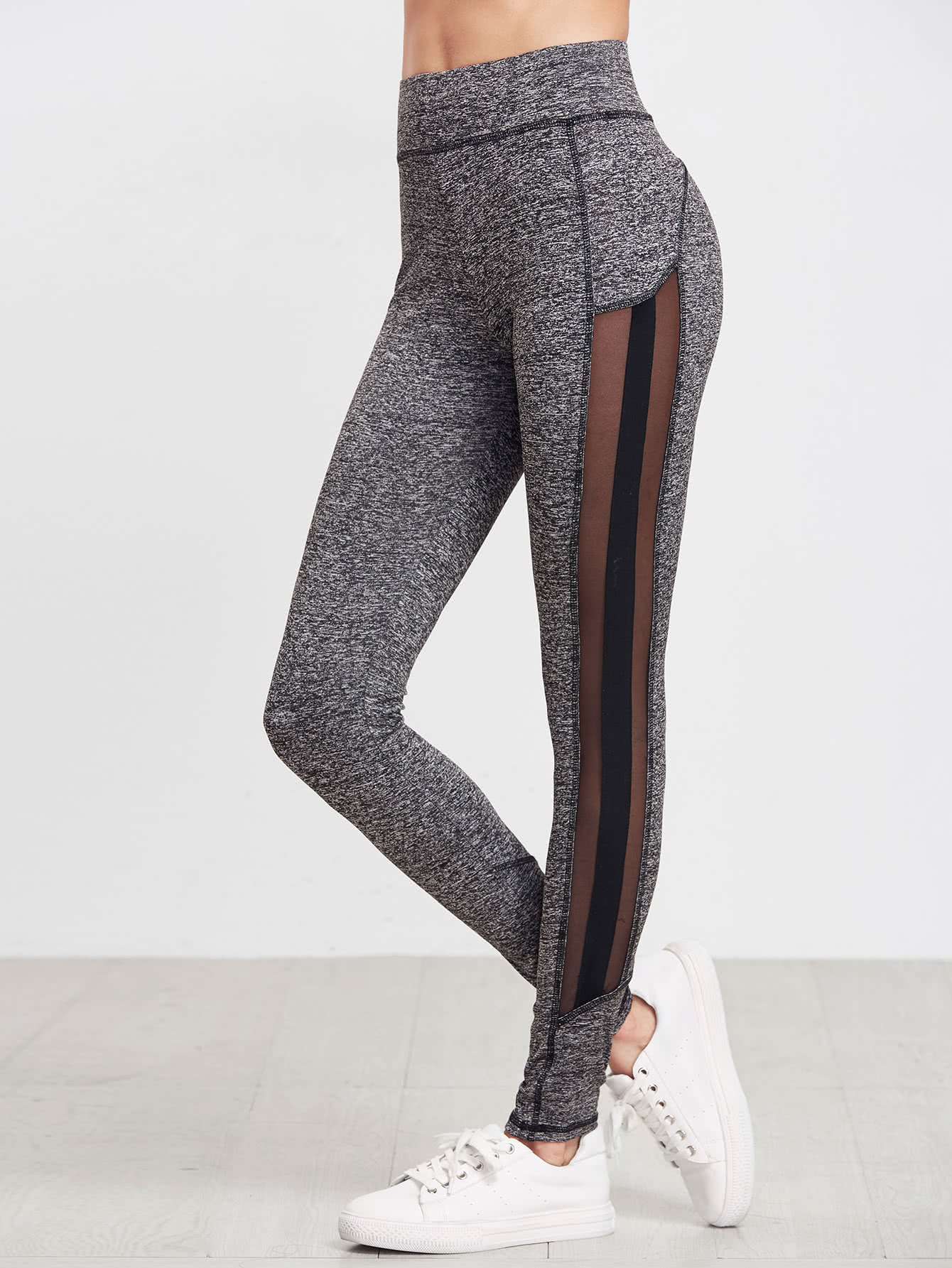 knit mesh panel leggings