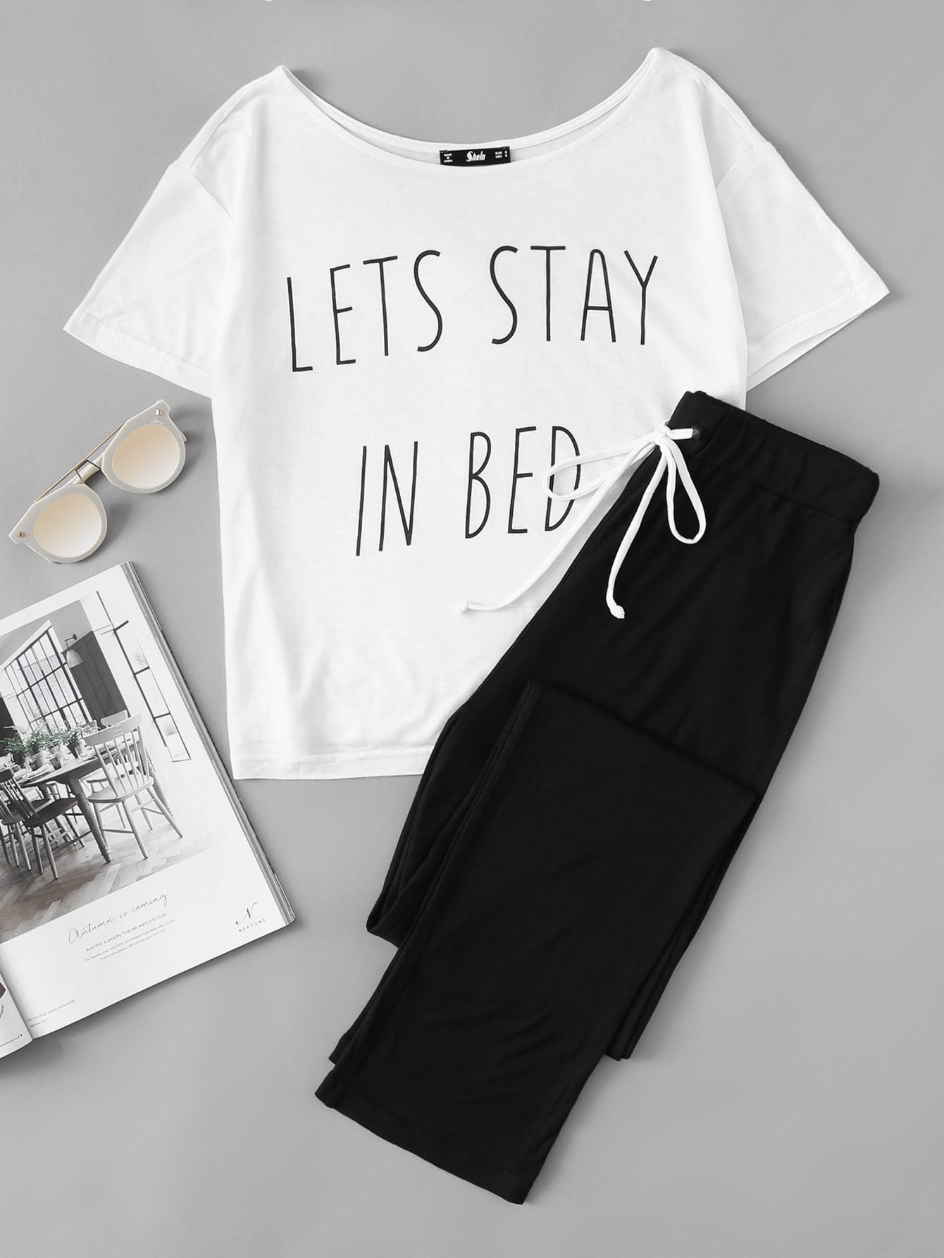 let's stay in bed pajama set