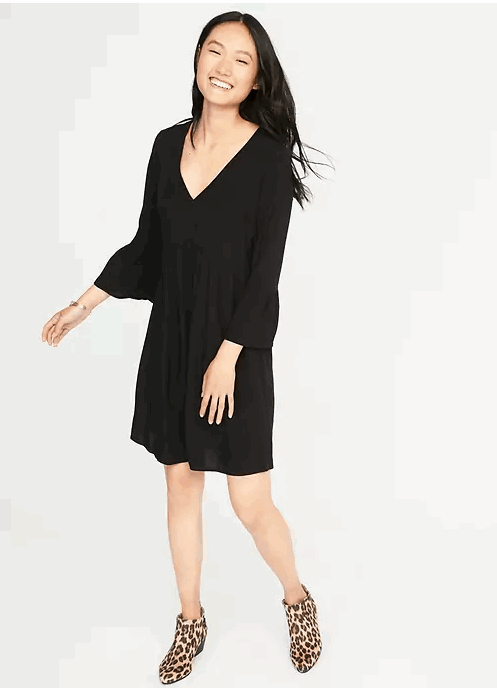 bell sleeve empire waist dress