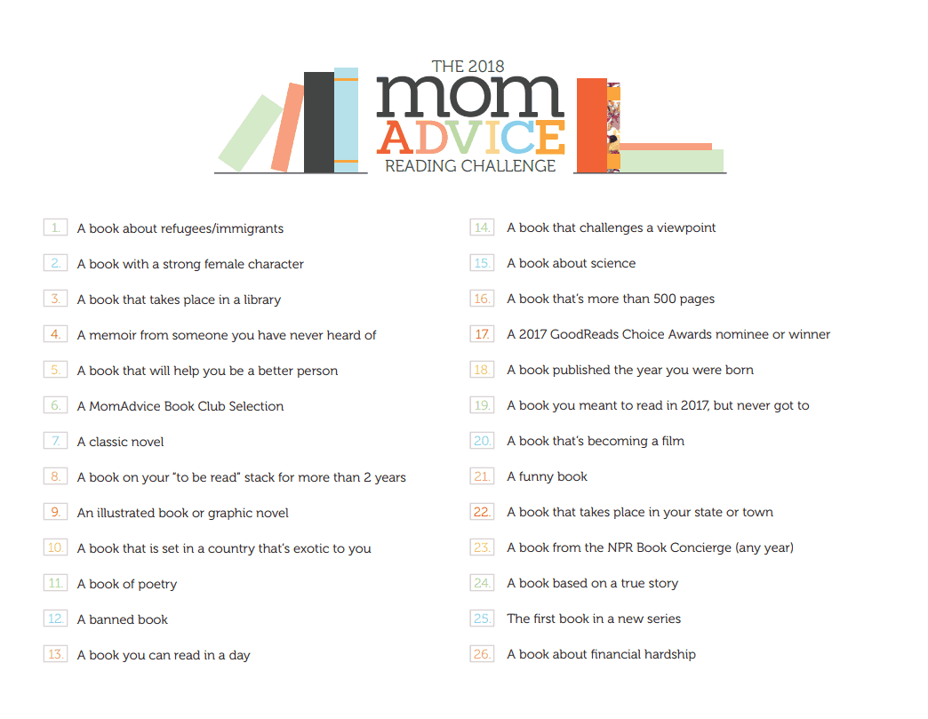 MomAdvice 2018 Reading Challenge Printable