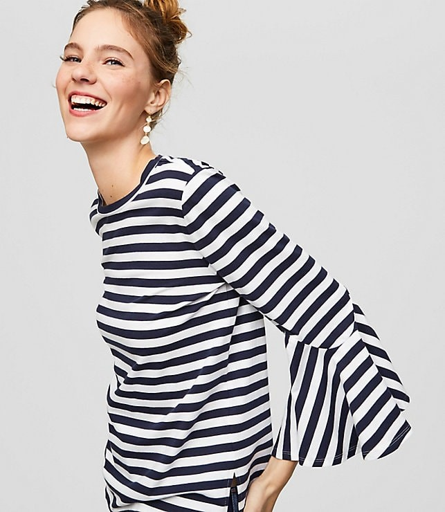 striped bell cuff top