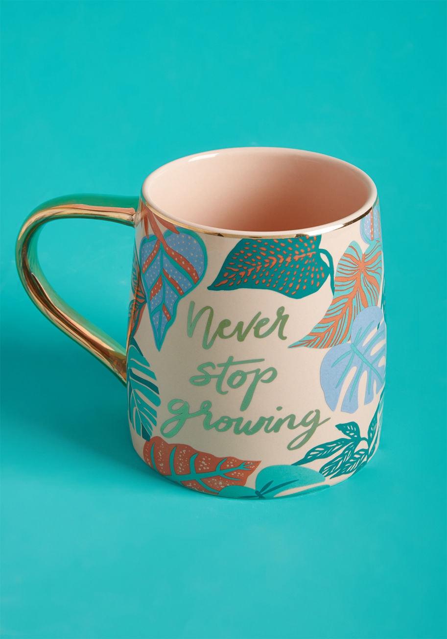 never stop growing mug