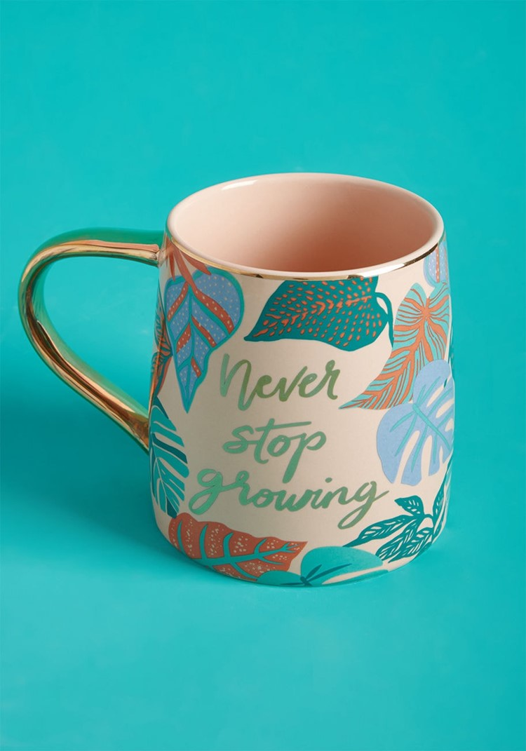 never stop growing mug
