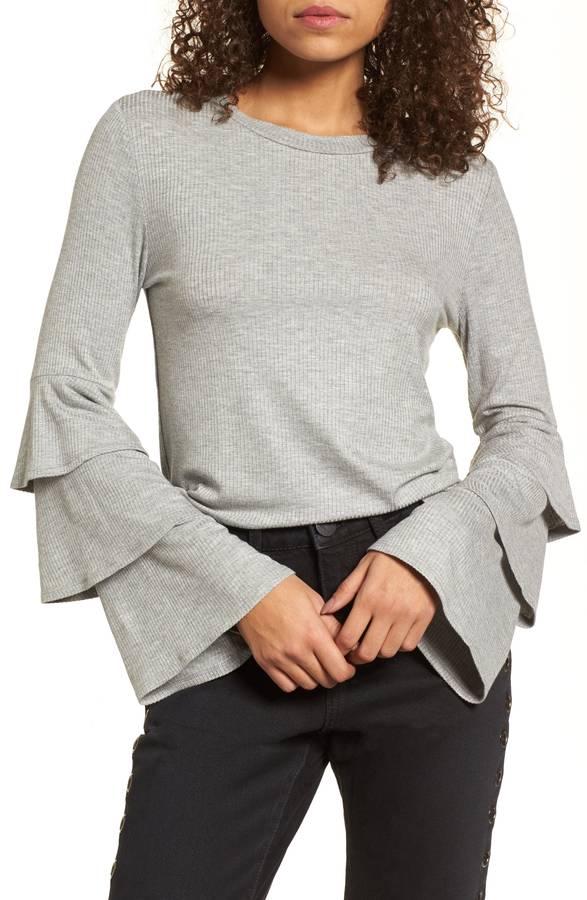 ruffle ribbed sweater