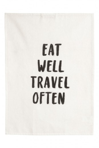 eat well, travel often tea towel