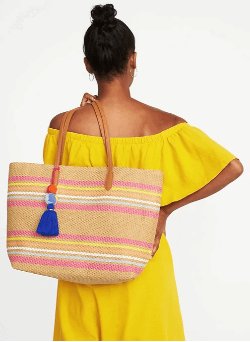 striped tassel bag