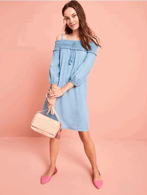 denim off-the-shoulder dress