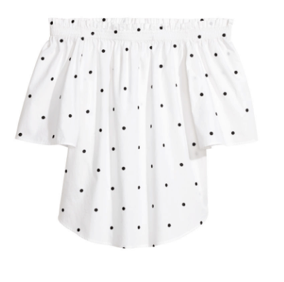 polka dot off-shoulder top