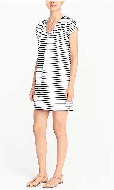 striped-v-neck-dress