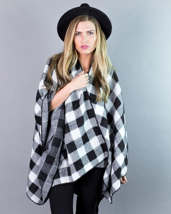 buffalo checked poncho