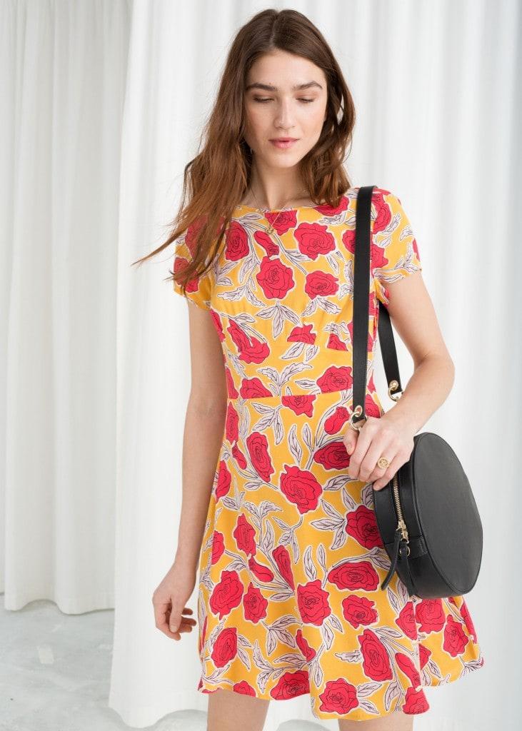 rose printed skater dress