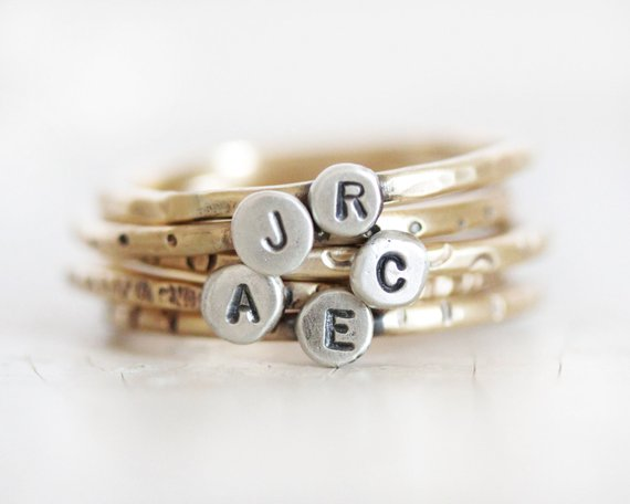 personalized initial stacking rings