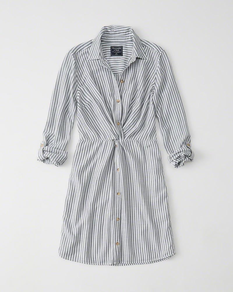 knot-front shirt dress