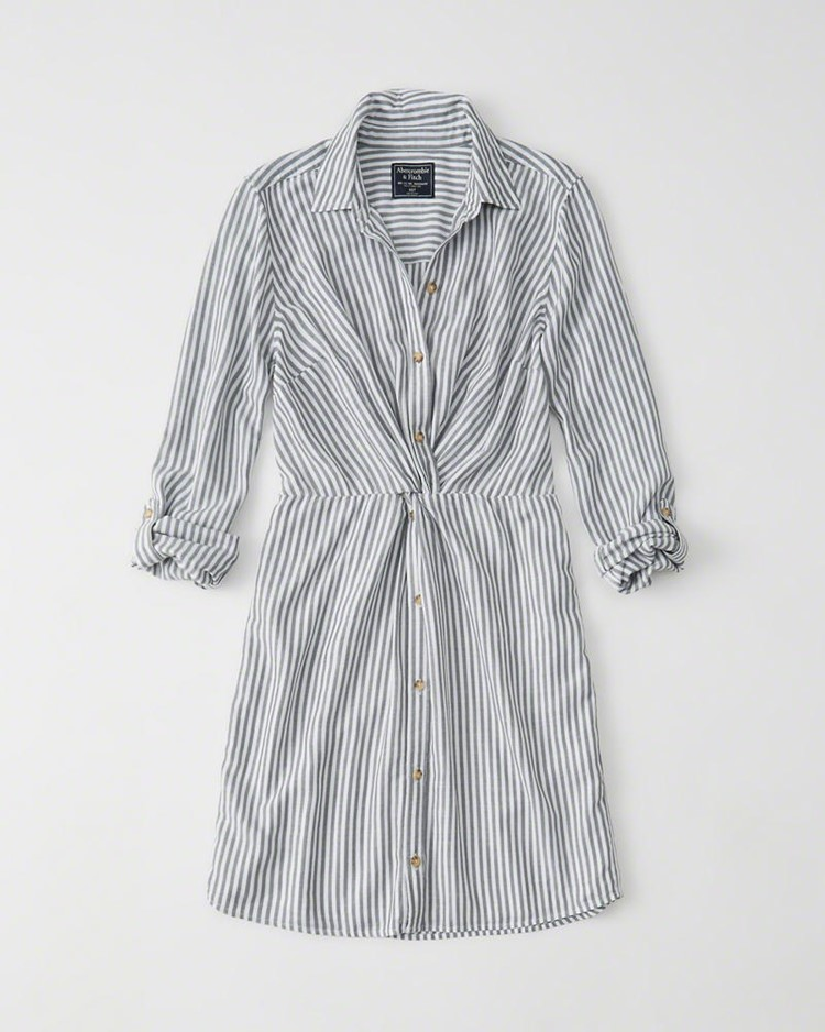 knot-front shirt dress