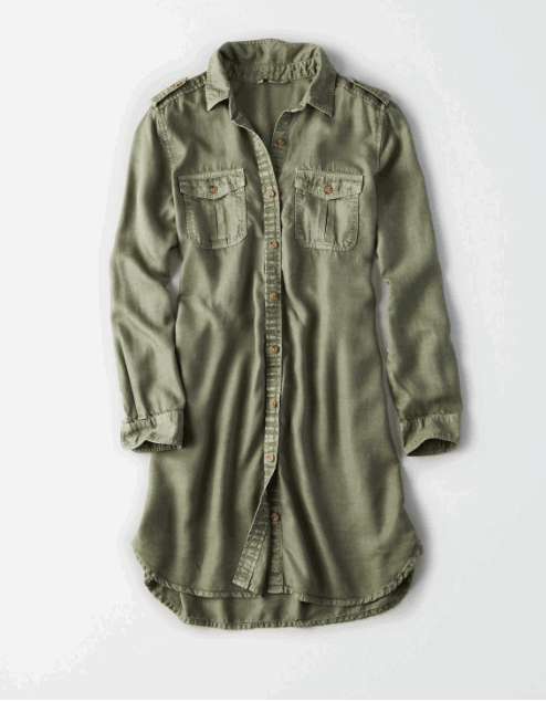 olive shirtdress