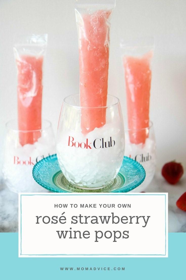 rosé strawberry wine pops recipe from momadvice.com