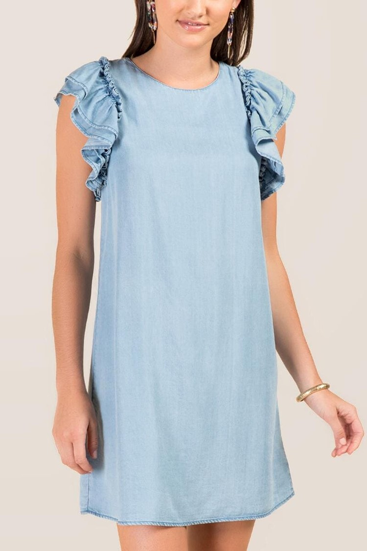 chambray ruffled shift dress