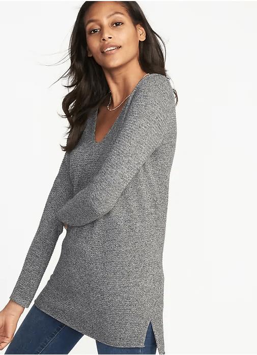 textured v-neck sweater