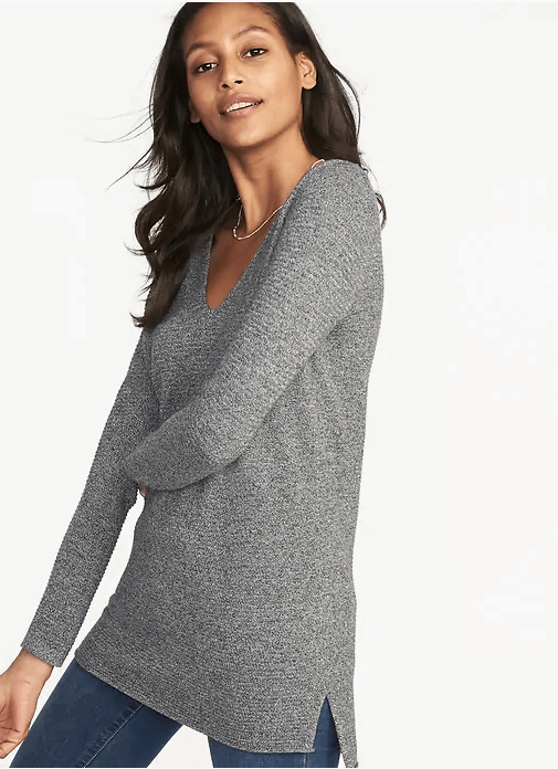textured v-neck sweater