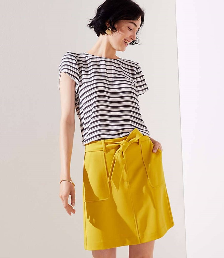 tie-waist yellow skirt