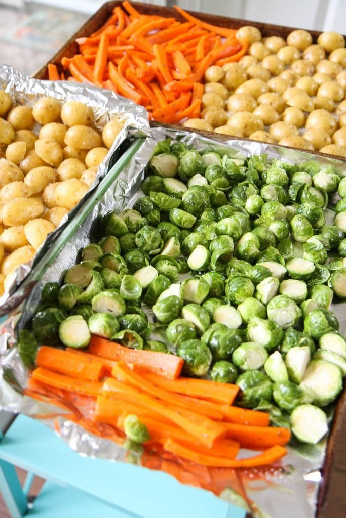 sheet pan potatoes, brussels sprouts, and carrots