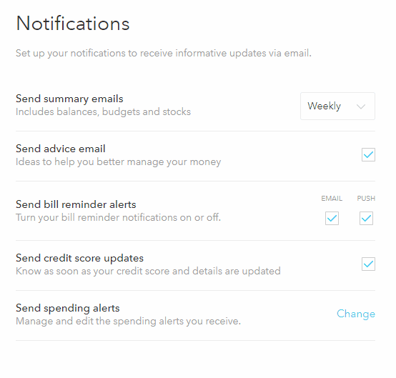 Push Notifications on Mint.com