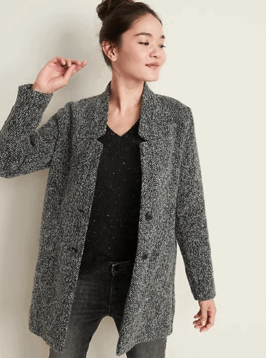 textured button front coat