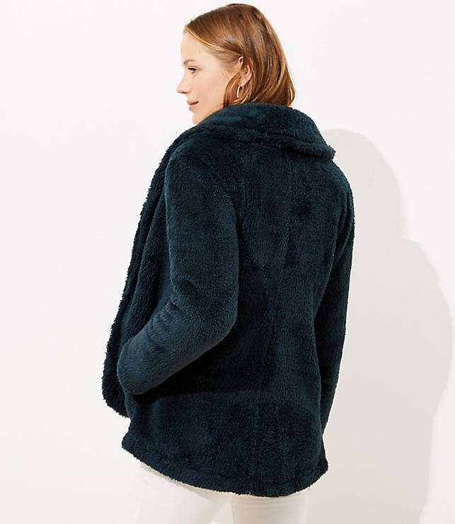 fleece shawl collared jacket
