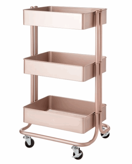 rose gold three tier rolling cart